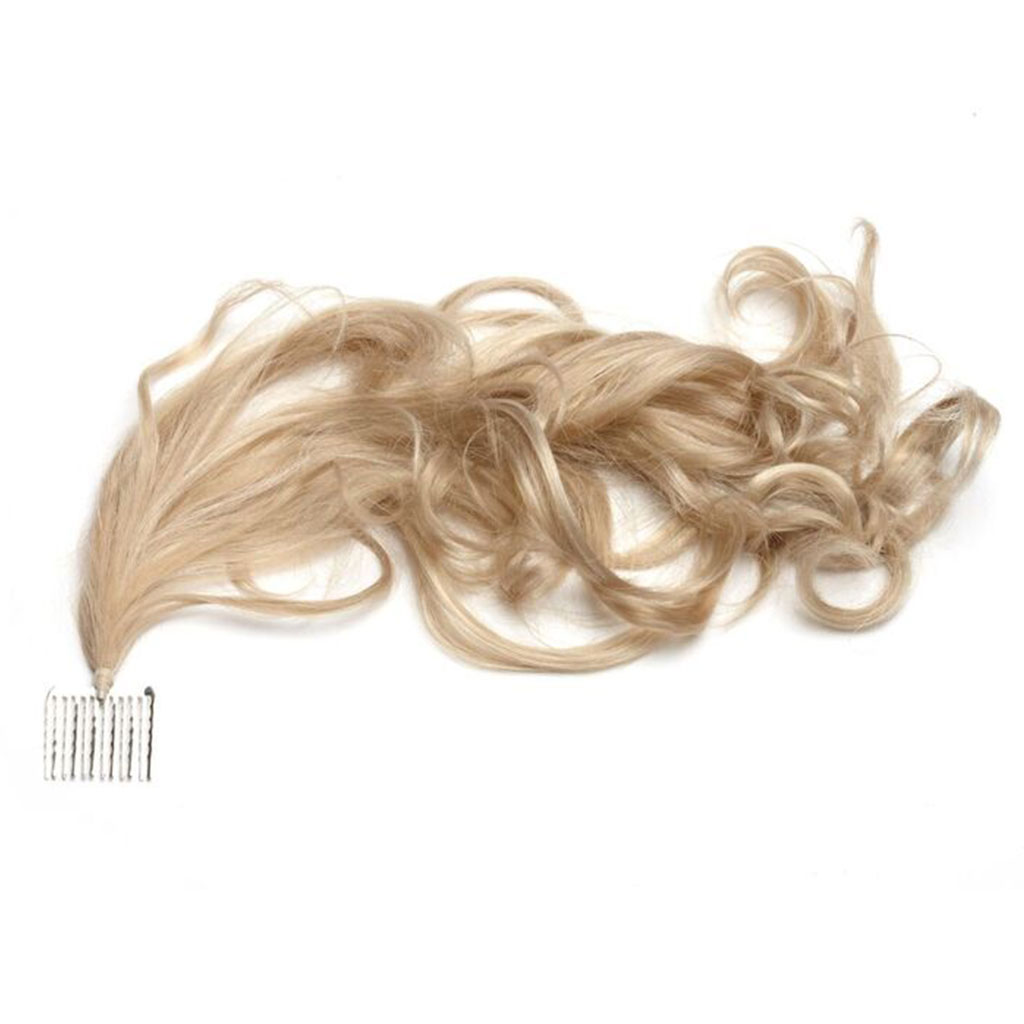 Curly Single Tuft - Hair Extensions attached with a Comb for a Wedding